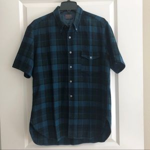 Pendleton Wool Blue Short Sleeve Button Down XL
